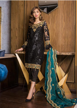 Sifona Embroidered Chiffon Unstitched 3 Piece Suit SFE19LC 03 Emperor Shades - Luxury Collection