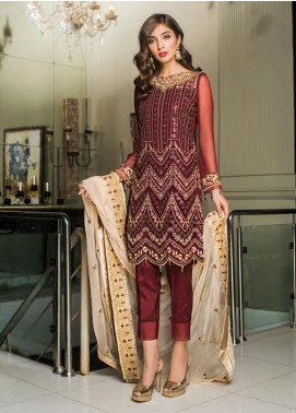 Sifona Embroidered Chiffon Unstitched 3 Piece Suit SFE19LC 04 Scarlet Luxe - Luxury Collection