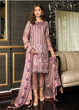 Sifona Embroidered Chiffon Unstitched 3 Piece Suit SFE19LC 05 Pink Candelabrum - Luxury Collection