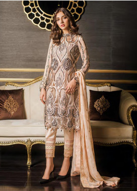 Sifona Embroidered Chiffon Unstitched 3 Piece Suit SFE19LC 07 Zinnwaldite - Luxury Collection