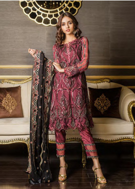 Sifona Embroidered Chiffon Unstitched 3 Piece Suit SFE19LC 08 Baccara Rose - Luxury Collection