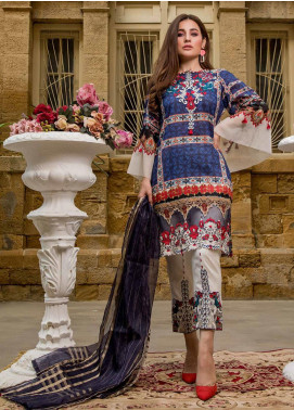 Sifona Embroidered Lawn Unstitched 3 Piece Suit SF20ML 03 - Luxury Collection