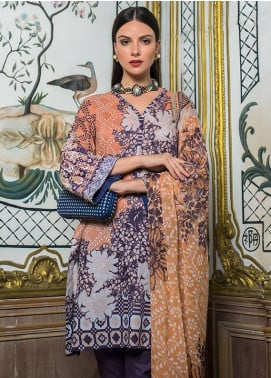 Summerina By LSM Embroidered Lawn Unstitched 3 Piece Suit SMR18L 10B - Spring / Summer Collection