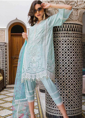 Sobia Nazir Embroidered Lawn Unstitched 3 Piece Suit L20SN 1-A BLUE - Luxury Collection