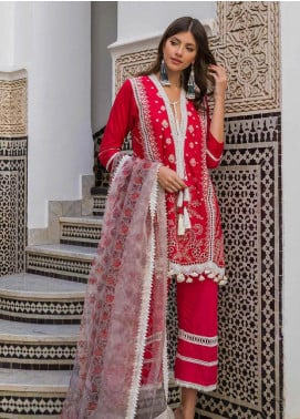 Sobia Nazir Embroidered Lawn Unstitched 3 Piece Suit L20SN 1-B RED - Luxury Collection