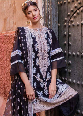 Sobia Nazir Embroidered Lawn Unstitched 3 Piece Suit L20SN 10-A BLACK - Luxury Collection