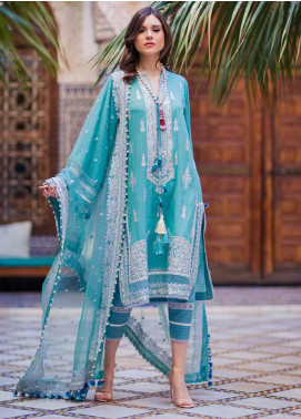 Sobia Nazir Embroidered Lawn Unstitched 3 Piece Suit L20SN 11-B TURCOISE - Luxury Collection