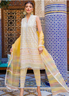 Sobia Nazir Embroidered Lawn Unstitched 3 Piece Suit L20SN 12-A YELLOW - Luxury Collection