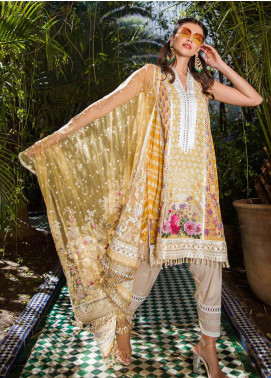 Sobia Nazir Embroidered Lawn Unstitched 3 Piece Suit L20SN 13-A YELLOW - Luxury Collection