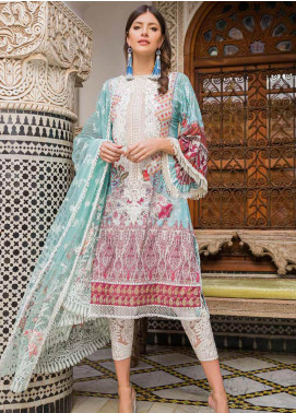 Sobia Nazir Embroidered Lawn Unstitched 3 Piece Suit L20SN 15-A BLUE/WHITE - Luxury Collection