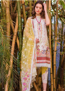 Sobia Nazir Embroidered Lawn Unstitched 3 Piece Suit L20SN 15-B GREENISH YELLOW - Luxury Collection