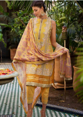 Sobia Nazir Embroidered Lawn Unstitched 3 Piece Suit L20SN 2-A YELLOW - Luxury Collection
