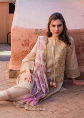 Sobia Nazir Embroidered Lawn Unstitched 3 Piece Suit L20SN 2-B BIEGE - Luxury Collection