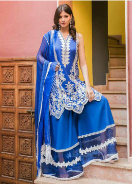 Sobia Nazir Embroidered Lawn Unstitched 3 Piece Suit L20SN 4-A ROYAL BLUE - Luxury Collection