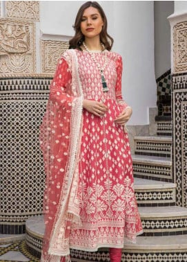 Sobia Nazir Embroidered Lawn Unstitched 3 Piece Suit L20SN 5-A RED - Luxury Collection