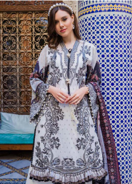 Sobia Nazir Embroidered Lawn Unstitched 3 Piece Suit L20SN 6-A WHITE - Luxury Collection