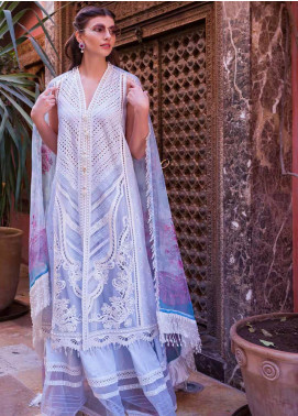 Sobia Nazir Embroidered Lawn Unstitched 3 Piece Suit L20SN 8-A LIGHT BLUE - Luxury Collection