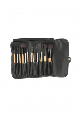 Sophia Asley Professional Wooden Brush Kit with Leather pouch 12 Pieces