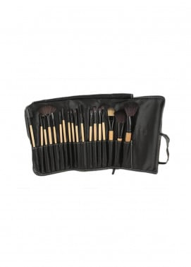 Sophia Asley Professional Wooden Brush Kit with Leather pouch 18 Pieces