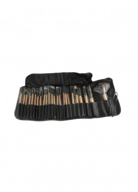 Sophia Asley Professional Wooden Brush Kit with Leather pouch 24 Pieces