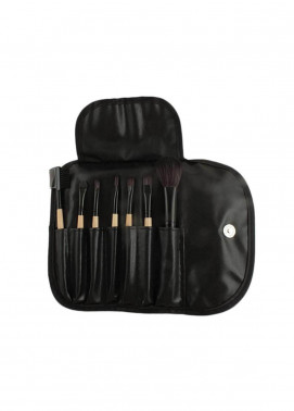 Sophia Asley Professional Wooden Brush Kit with Leather pouch 8 Pieces