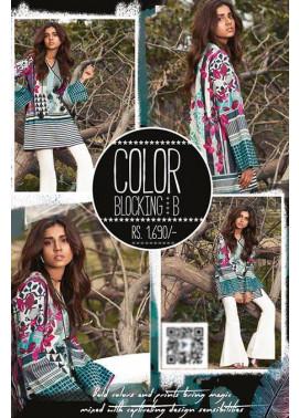 Sapphire Printed Lawn Unstitched Suit 2 Piece Suit SP17L2 Color Blocking B