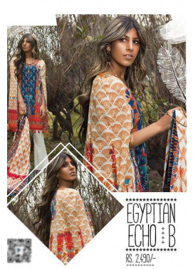 Sapphire Embroidered Lawn Unstitched Suit 3 Piece Suit SP17L2 Egyptian Echo B
