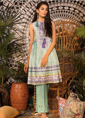 Sapphire Embroidered Cotton Unstitched Kurties Bamboo Damask A - Autumn - Fall Collection