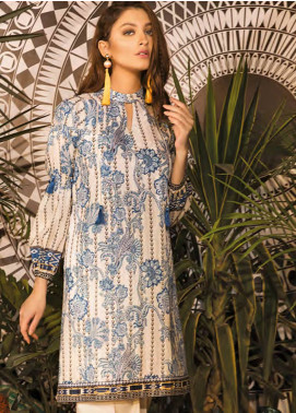 Sapphire Printed Cotton Unstitched 2 Piece Suit Pansy Garden A - Autumn - Fall Collection