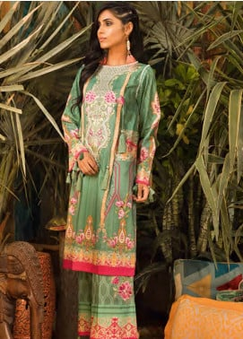 Sapphire Embroidered Cotton Unstitched 2 Piece Suit Tranquil Fantasy A - Autumn - Fall Collection