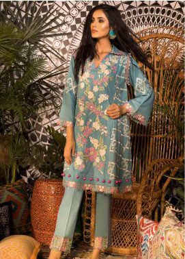Sapphire Embroidered Cotton Unstitched 2 Piece Suit Tropic Tribe A - Autumn - Fall Collection