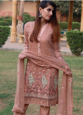 Spade Embroidered Organza Stitched 3 Piece Suit C7LBO-02 LIGHT BROWN