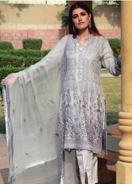Spade Embroidered Chiffon Stitched 3 Piece Suit C7LGC-05 LIGHT GREY