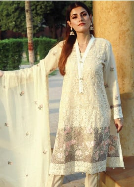 Spade Embroidered Organza Stitched 3 Piece Suit C7LYO-04 LIGHT YELLOW