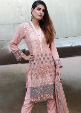 Spade Embroidered Organza Stitched 3 Piece Suit C7PO-03 PINK