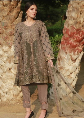 Spade Embroidered Zari Net Stitched 3 Piece Suit C7SGN-01 SMOKEY GREEN