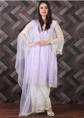 Spade Embroidered Zari Net Stitched 3 Piece Suit LPY-06