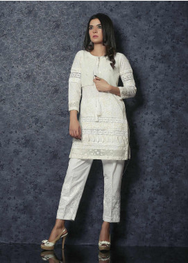 Spade Luxury Cotton Stitched Kurtis C9WC-08 WHITE