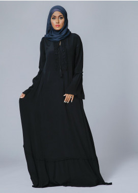 Spinzar Formal Crepe Stitched Abaya Black pearl Black