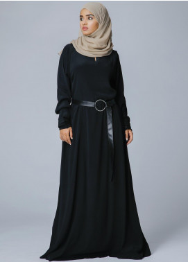 Spinzar Formal Crepe Stitched Abaya Chess Black Black