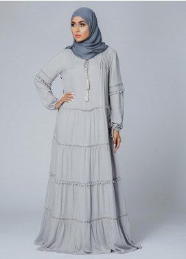 Spinzar Formal Crepe Stitched Abaya Dove Grey