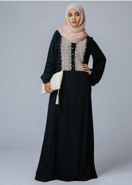 Spinzar Formal Crepe Stitched Abaya Dusk Black