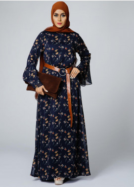 Spinzar Formal Polyester Stitched Abaya Flowery Garden Navy