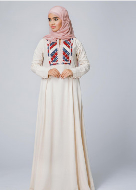 Spinzar Formal Irish Stitched Abaya Morganite Beige