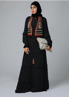 Spinzar Formal Marina Stitched Abaya Ornate Coaty Black
