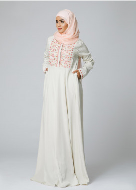Spinzar Formal Polyester Stitched Abaya Peony Cream