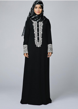 Spinzar Formal Crepe Stitched Abaya Picasso Black