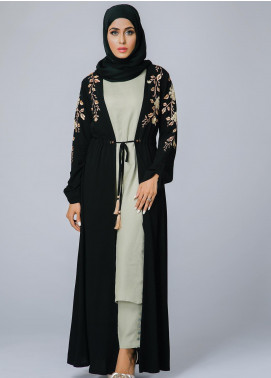Spinzar Formal Crepe Stitched Abaya Bronzite Black