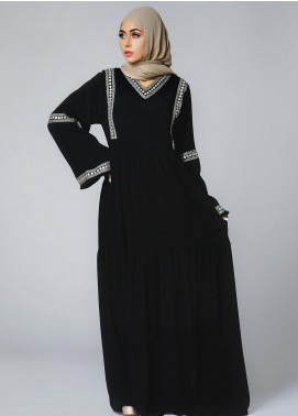 Spinzar Formal Crepe Stitched Abaya Tahtian Pearl Black