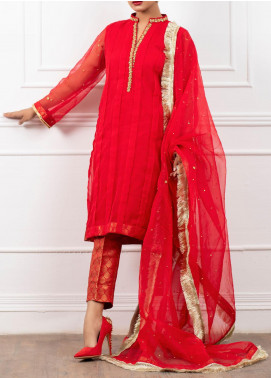 Spotlight Embroidered Organza Stitched 3 Piece Suit FLAME SCARLET